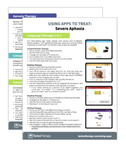Using apps to treat severe aphasia free PDF handout